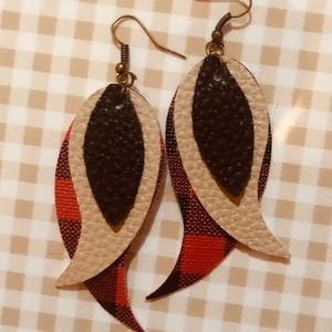 Buffalo Plaid Faux Leather Earrings